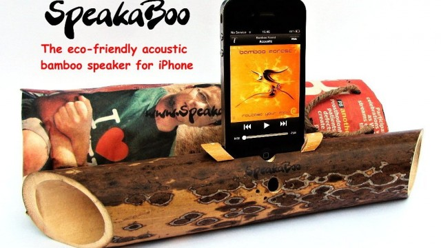 Acoustic bamboo speaker amplifier for iPhone 4/4s